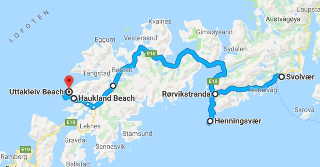 Roadmap für einen Tagesausflug von Vestvagoy